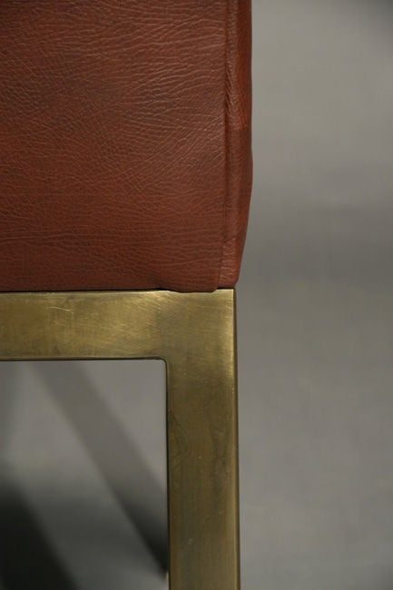 Set Of Six Plum Leather Dining Chairs image 9