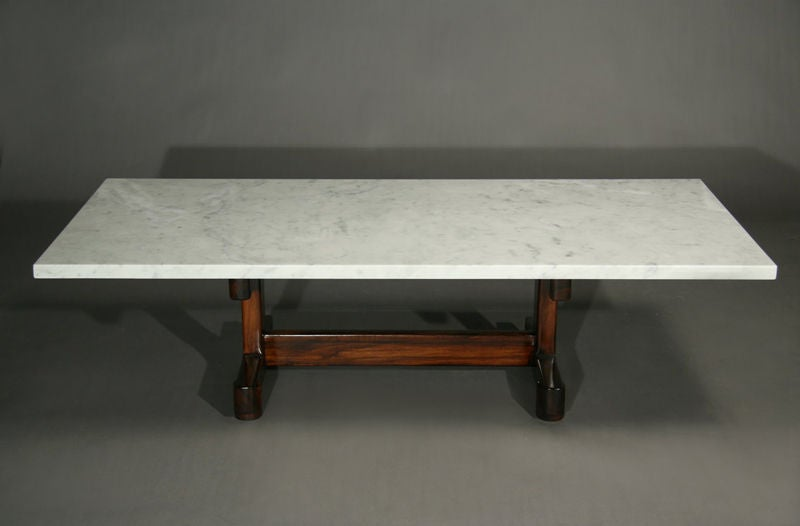 solid brazilian caviuna and white marble coffee table at 1stdibs. Black Bedroom Furniture Sets. Home Design Ideas