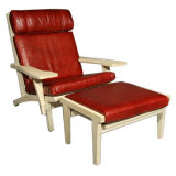 Hans Wegner 1960's GE 375 Lounge Chair With Ottoman