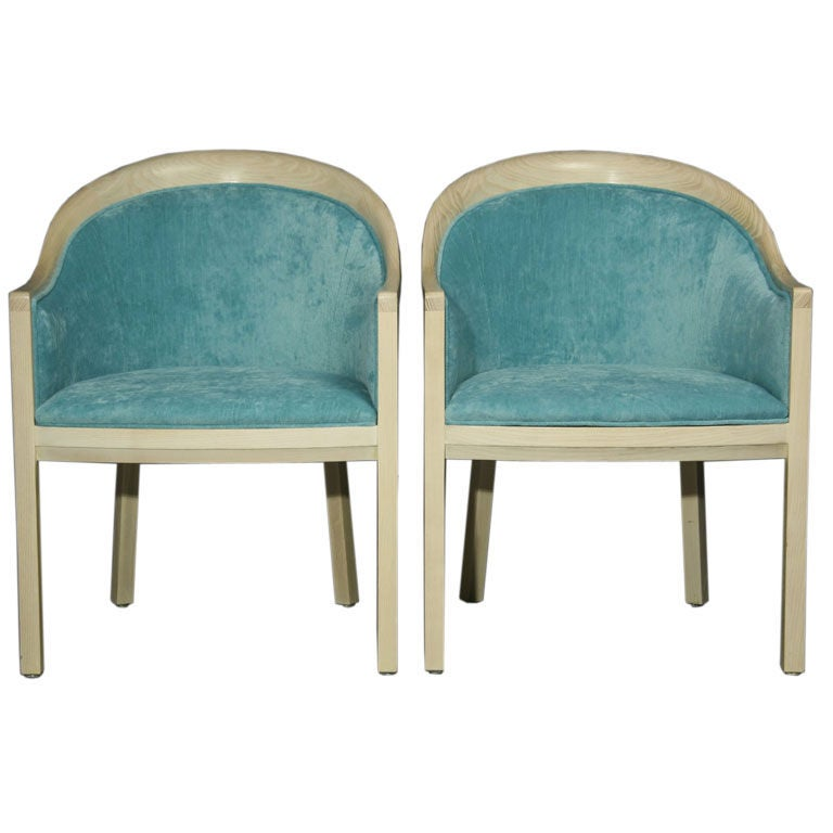 Pair Of Bleached Oak Curved Arm Chairs At 1stdibs