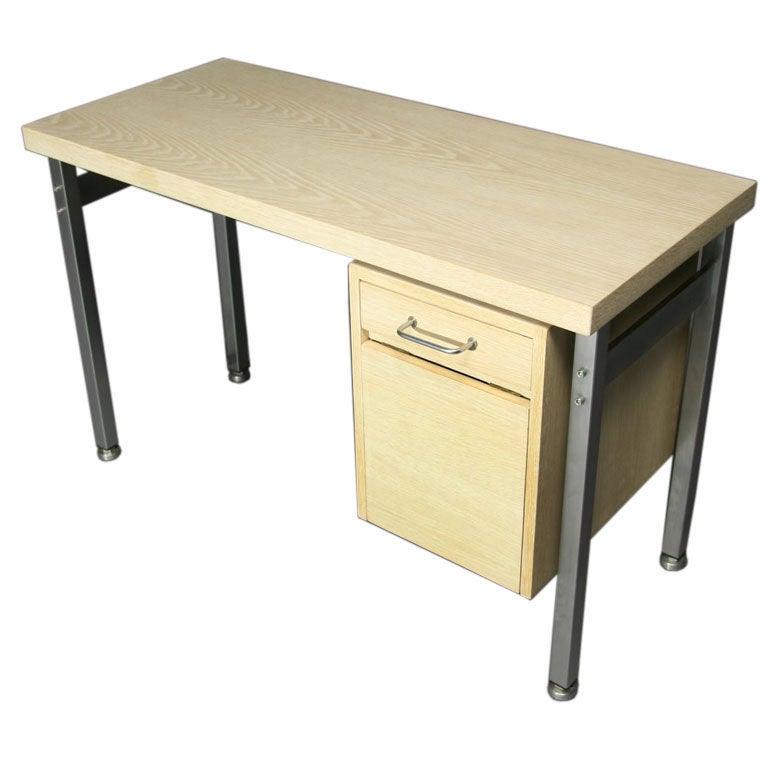 Small Bleached Oak Desk by Hans Wegner For Sale
