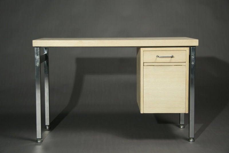 Danish Small Bleached Oak Desk by Hans Wegner For Sale