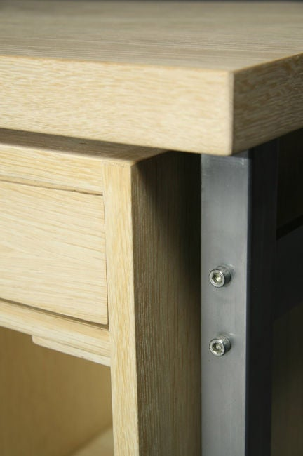 Metal Small Bleached Oak Desk by Hans Wegner For Sale