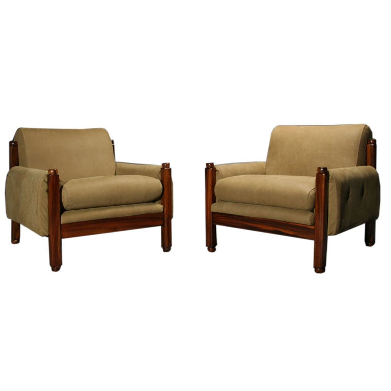Pair Of Brazilian Exotic Wood And Tan Suede Arm Chairs At 1stdibs