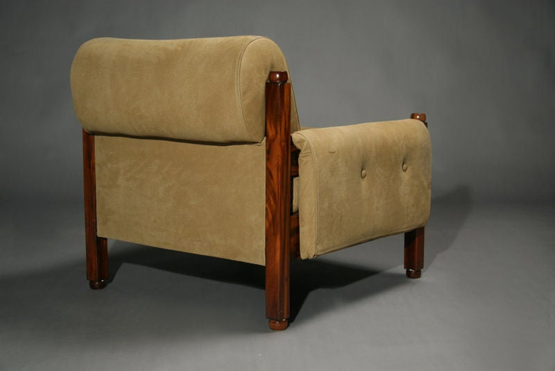 Exotic Wood Chairs ~ Pair of brazilian exotic wood and tan suede arm chairs at