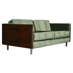 Rosewood and Green Mohair Case Settee by Milo Baughman