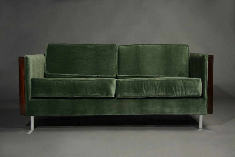 Rosewood and Green Mohair Case Settee by Milo Baughman image 2