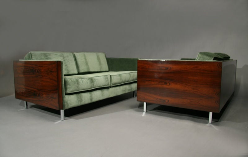Rosewood and Green Mohair Case Settee by Milo Baughman image 3