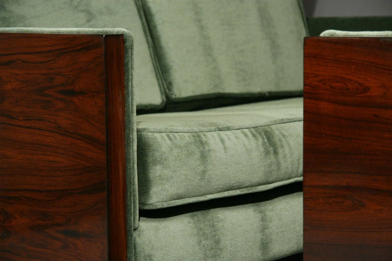 Rosewood and Green Mohair Case Settee by Milo Baughman image 4