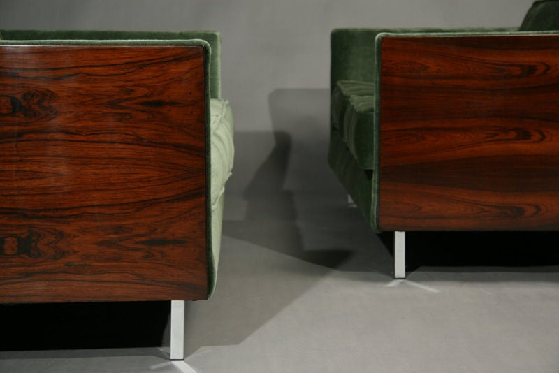 Rosewood and Green Mohair Case Settee by Milo Baughman image 6