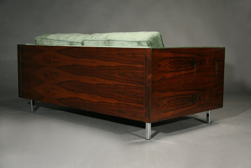 Rosewood and Green Mohair Case Settee by Milo Baughman image 7