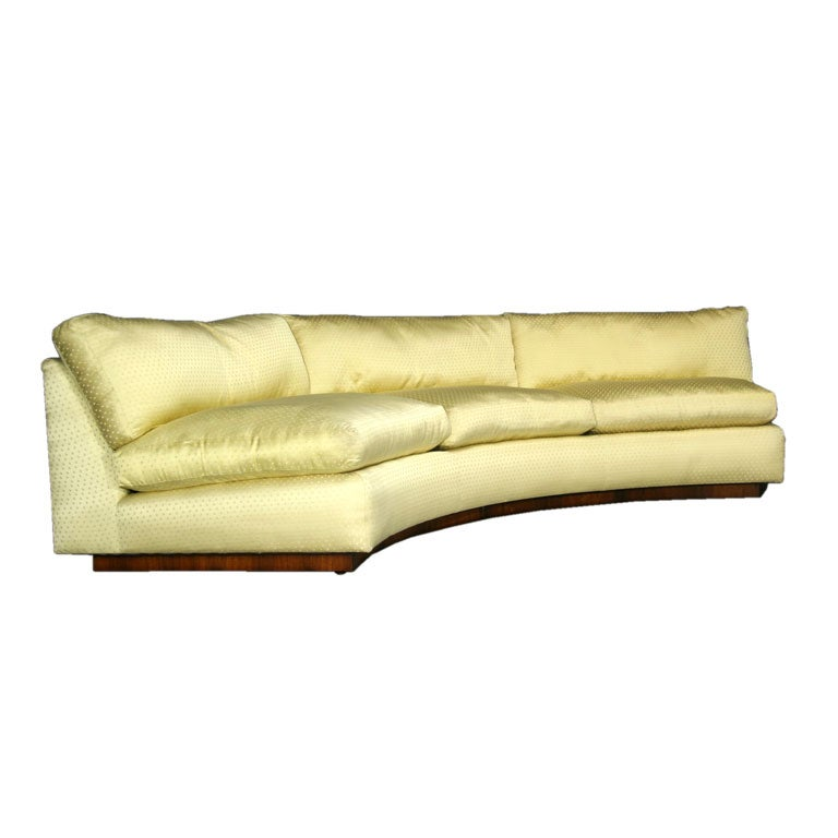 Curved Yellow Silk Sofa By Milo Baughman At 1stdibs