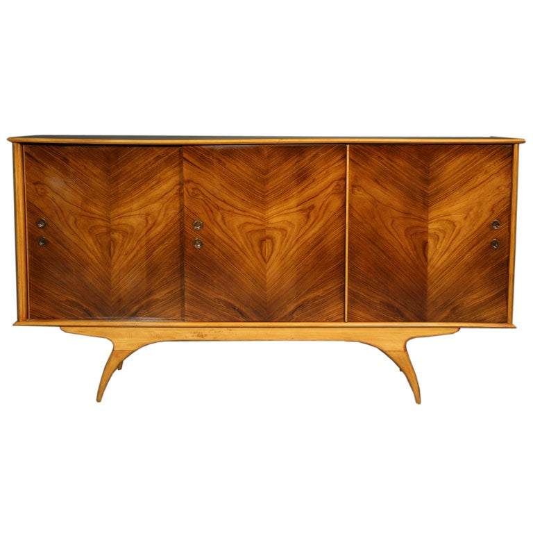 Brazilian caviuna wood cabinet with arched legs at 1stdibs for Sideboard lindholm