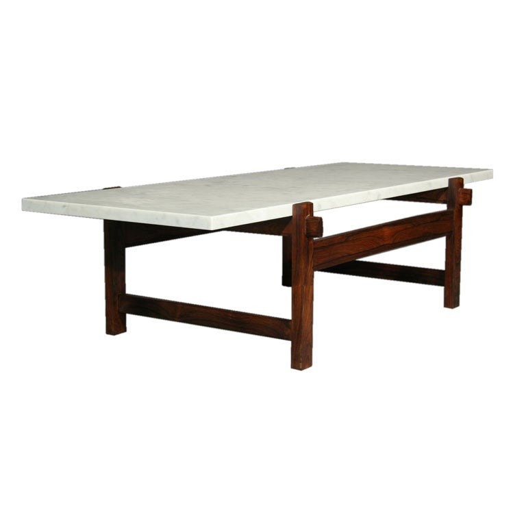 Rosewood And Marble Cantilevered Coffee Table At 1stdibs