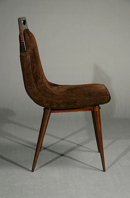 Exotic Wood Chairs ~ Set of eight brown suede and exotic wood dining chairs at