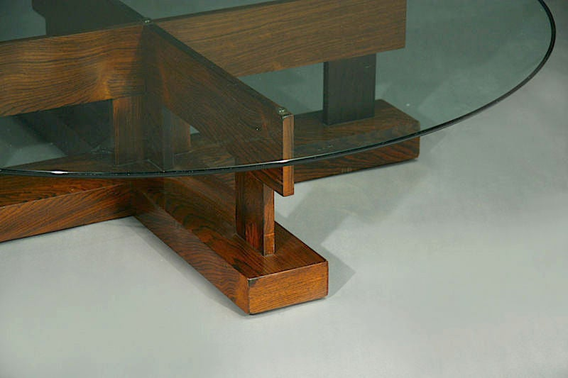 Rosewood Base Coffee Table With Glass Top By Celina At 1stdibs