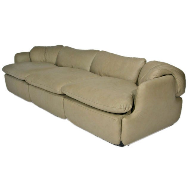 Soft Gray Leather Modular Sofa By Saporiti Italia At 1stdibs