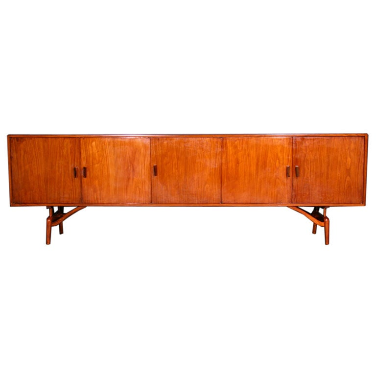 A Brazilian Exotic Wood Credenza With Sculpted Legs At 1stdibs