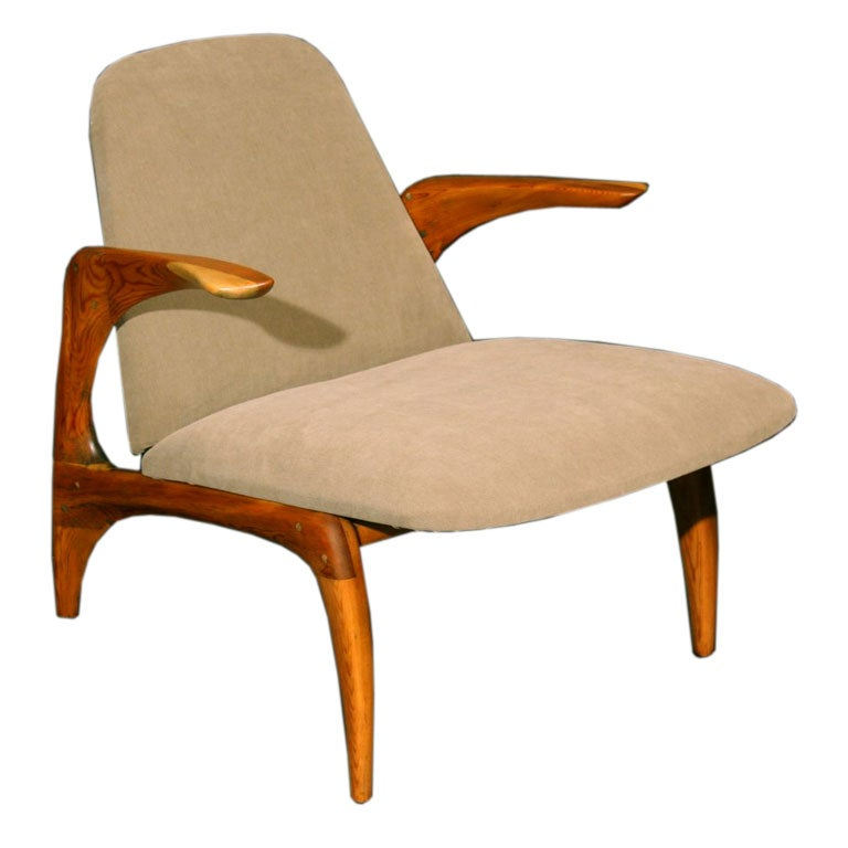 Sculpted Wood And Upholstered Arm Chair By Allen Ditson At