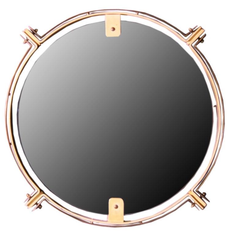 Bronze and metal nautical mirror at 1stdibs for Metal miroir