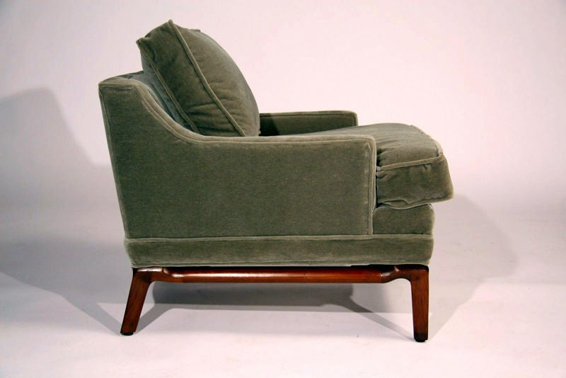 Pair Of Sage Green Mohair Lounge Chairs By Monteverdi