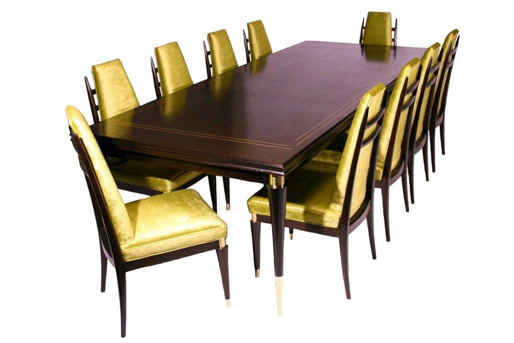 set of 10 custom green velvet dining chairs by monteverdi