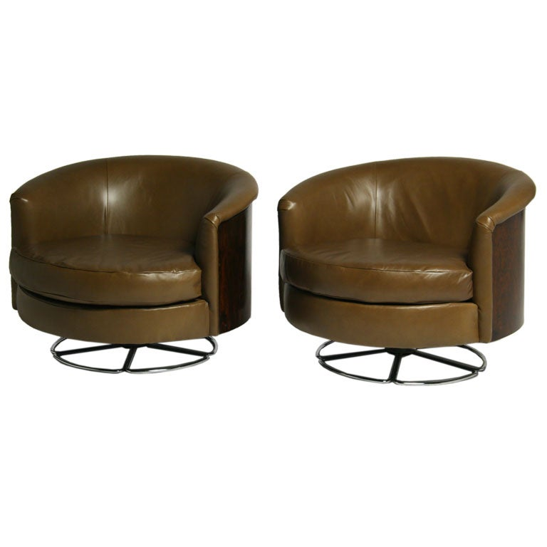 brazilian rosewood green leather and chrome swivel chairs