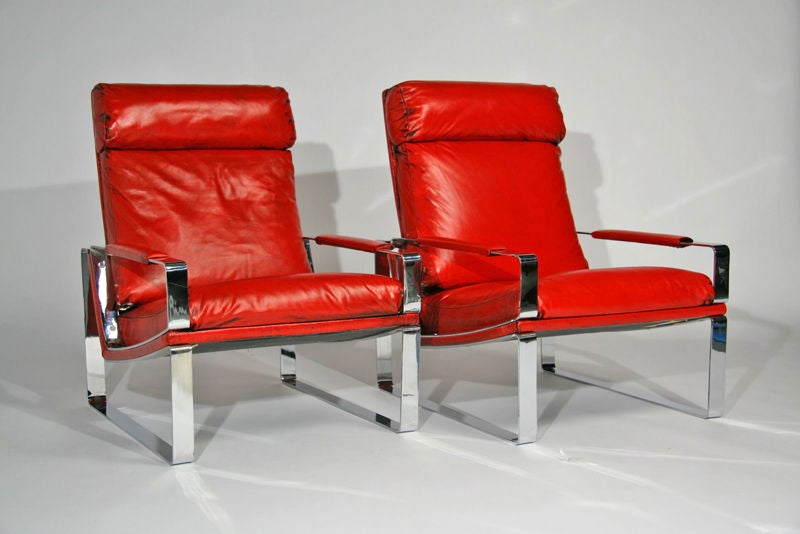 Pair Of Solid Steel Chrome And Leather High Back Lounge Chairs At 1stdibs
