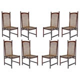 Set of eight solid rosewood dining chairs by Celina