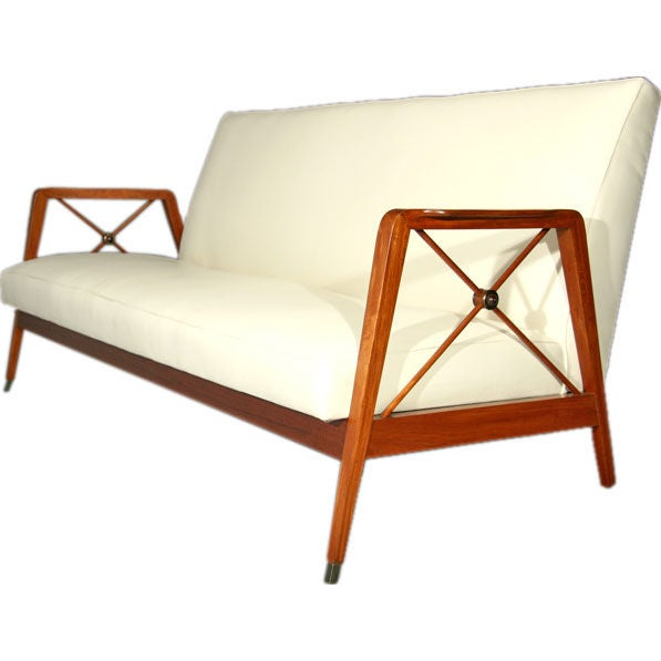 Exotic Wood And Leather Sofa By Cavallaro Brazil At 1stdibs