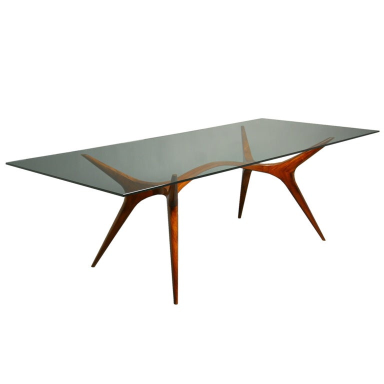 Sculpted exotic wood and glass dining table by scapinelli for Wooden glass dining table designs