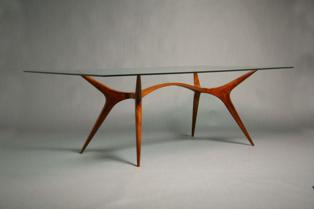sculpted exotic wood and glass dining table by scapinelli