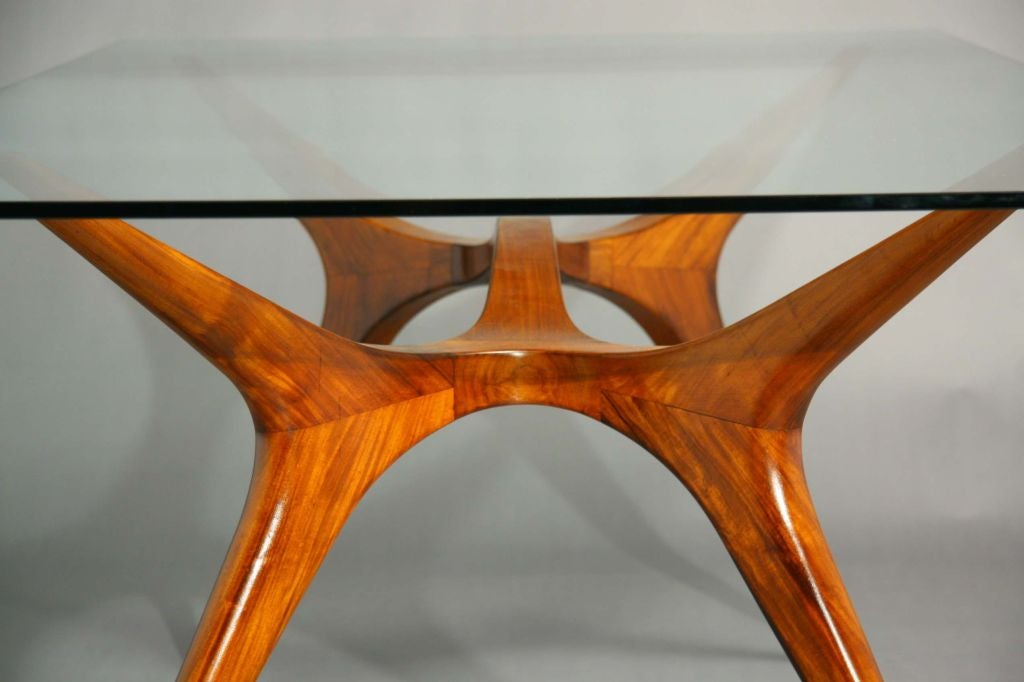 Sculpted Exotic Wood And Glass Dining Table By Scapinelli At 1stdibs