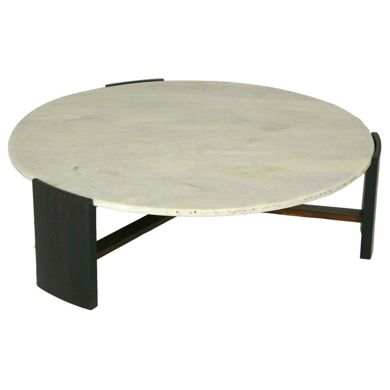 Brazilian Rosewood And Round Marble Coffee Table At 1stdibs