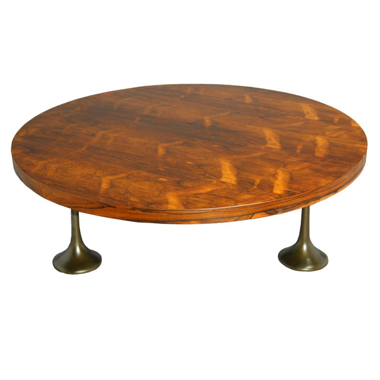 Round Rosewood Coffee Table By Milo Baughman At 1stdibs