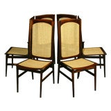 Set of six high back rosewood and caned dining chairs by Celina