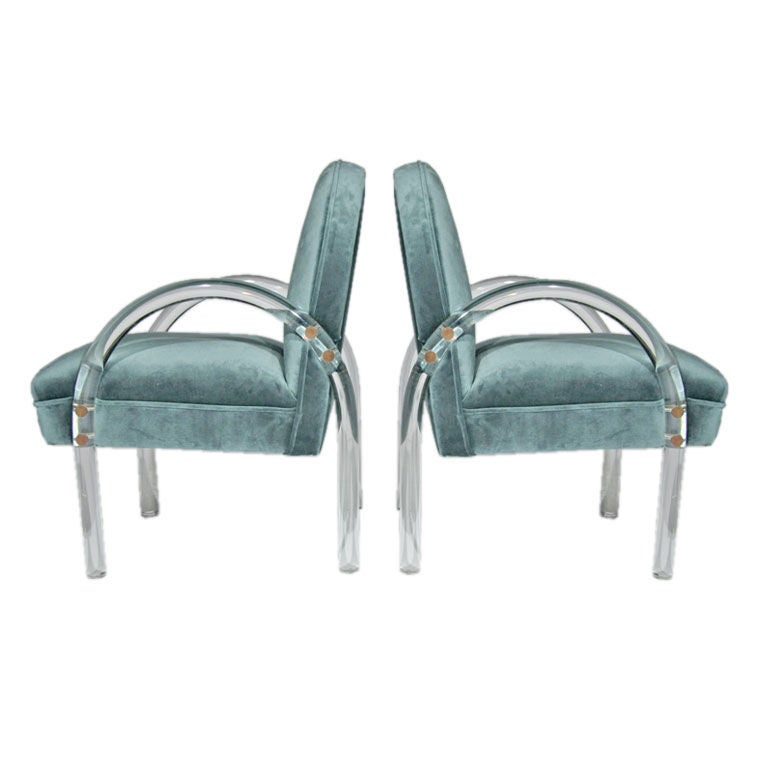 Pair Of Blue Velvet And Lucite Lounge Chairs By Pace