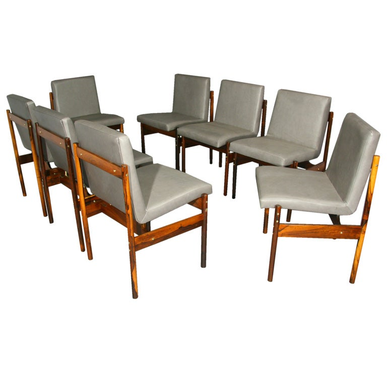 Set Of 8 Rosewood And Gray Leather Dining Chairs By Novo