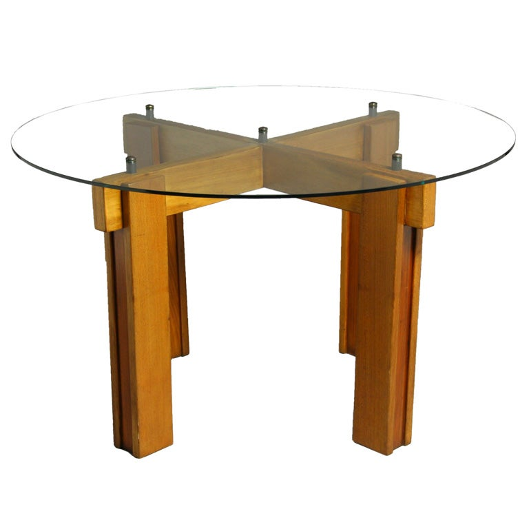 Brazilian Exotic Wood and Glass Top Dining Table