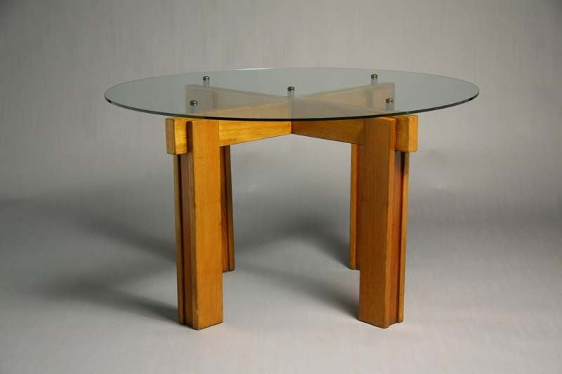 brazilian exotic hardwood dining table with floating glass