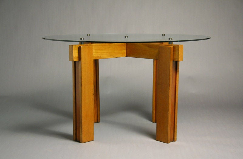 Brazilian Exotic Wood And Glass Top Dining Table For Sale At 1stdibs