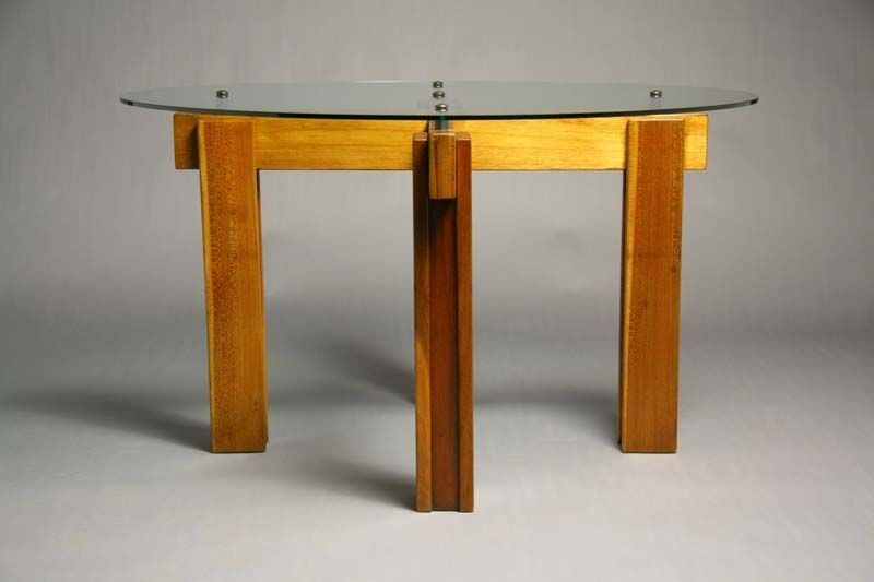 brazilian exotic wood and glass top dining table at 1stdibs