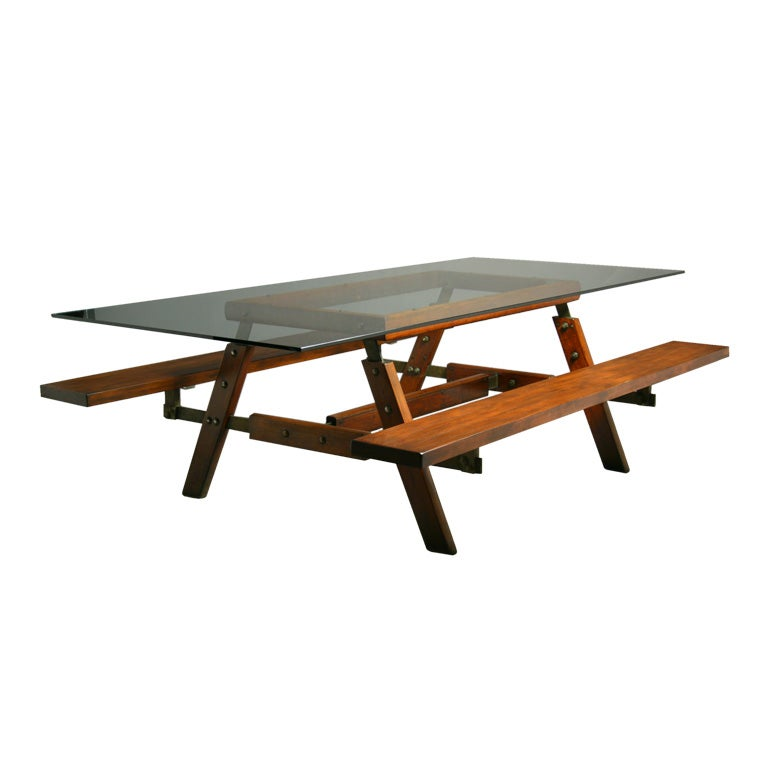 Exotic Glass Coffee Tables: Exotic Wood And Glass Picnic Table By Sergio Rodrigues At