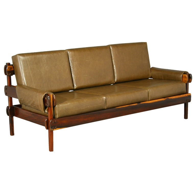 Brazilian Rosewood And Green Leather Sofa At 1stdibs