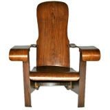 Wooden paddle arm 'Cimo' lounge chair