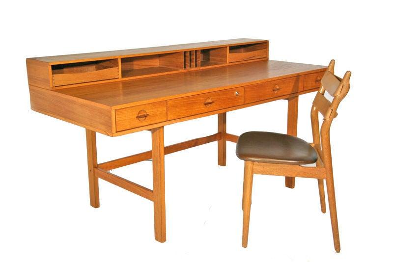 Teak flip top desk by lovig at 1stdibs for Flip top computer desk