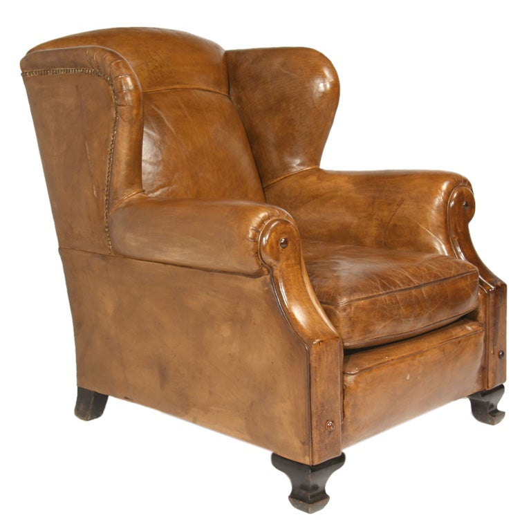 Leather wingback club chair at 1stdibs