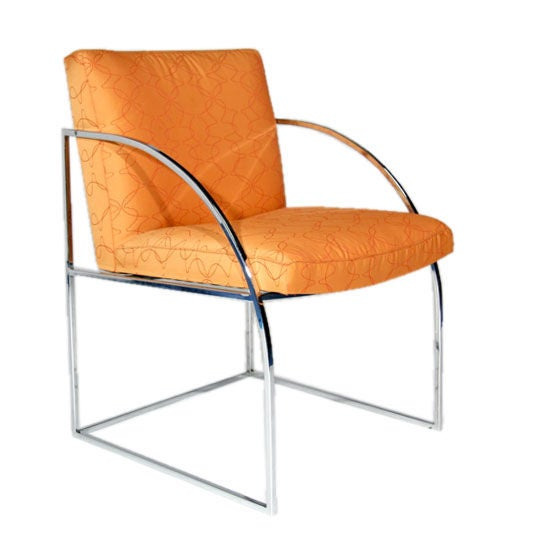 Set Of Ten Curved Arm Chrome Dining Chairs By Milo
