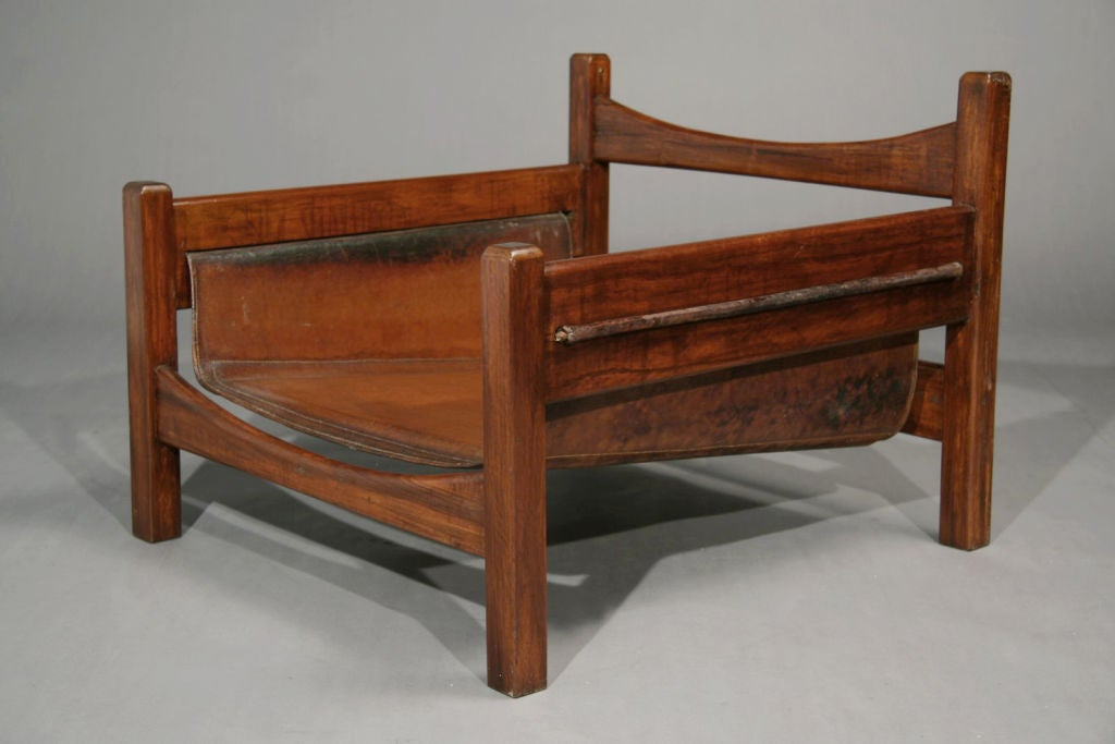 Pair of exotic wood and leather sling chairs brazil at