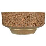 Stoneware ceramic planter by Raul Coronel